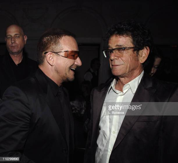 Bono and Lou Reed during Lou Reed is Awarded George Arents Pioneer Medal Syracuse University's Highest Alumni Award at W New York Union Square in New...