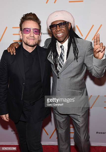 Bono and Nile Rodgers attend the We Are Family Foundation 2016 Celebration Gala at Hammerstein Ballroom on April 29, 2016 in New York City.
