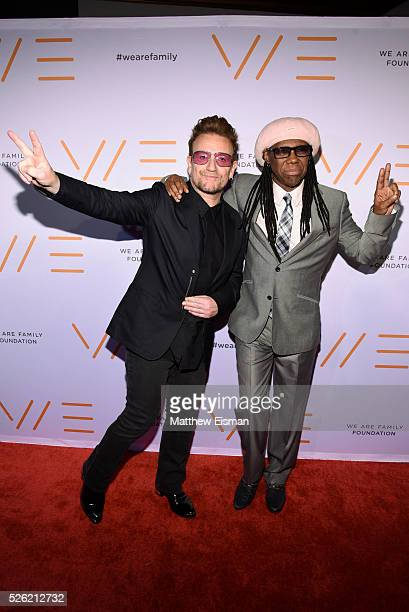 Bono and Nile Rodgers attend the We Are Family Foundation 2016 celebration gala at Hammerstein Ballroom on April 29 2016 in New York City