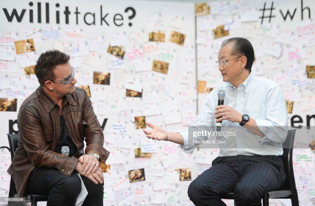 Bono and President of the World Bank Jim Yong Kim speaks at the World Bank on November 14, 2012 in Washington, DC.
