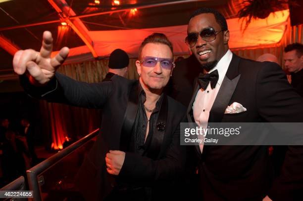 Bono and Sean Combs attend The Weinstein Company Netflix's 2014 Golden Globes After Party presented by Bombardier FIJI Water Lexus Laura Mercier...