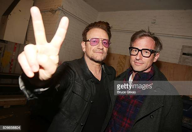 Bono and Spike Jonze pose backstage as he visits 'Eclipsed' To launch a dedications series in honor of abducted Chibok Girls of Northern Nigeriaon at...
