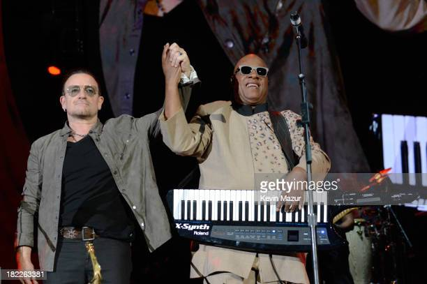 Bono and Stevie Wonder performat the 2013 Global Citizen Festival in Central Park to end extreme poverty on September 28, 2013 in New York, United...