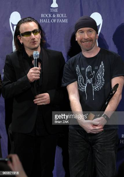 Bono and The Edge at the 20th Annual Rock and Roll Hall of Fame Induction Ceremony Press Room held at the Waldorf Astoria Hotel New York City ZAK...