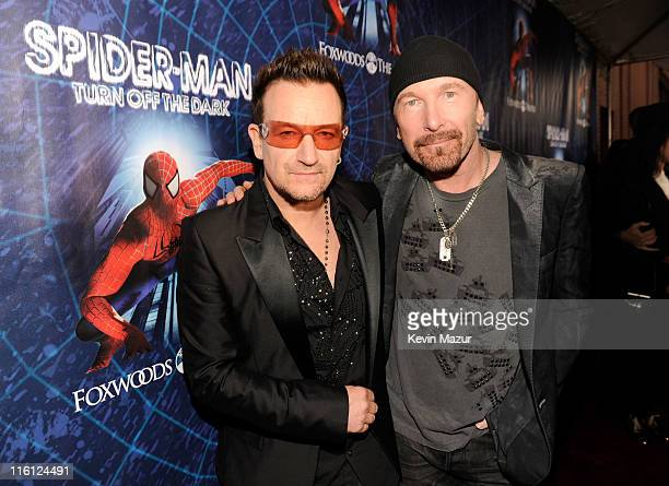 Bono and The Edge of U2 attend 'SpiderMan Turn Off The Dark' Broadway opening night at Foxwoods Theatre on June 14 2011 in New York City