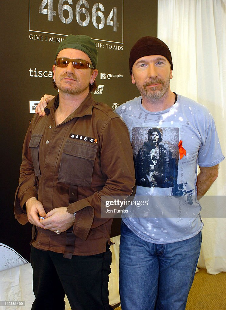 Bono and The Edge of U2 during '46664: Give 1 Minute Of Your Life To AIDS' Concert - Press Room at Greenpoint Stadium in Cape Town, Western Cape, South Africa.