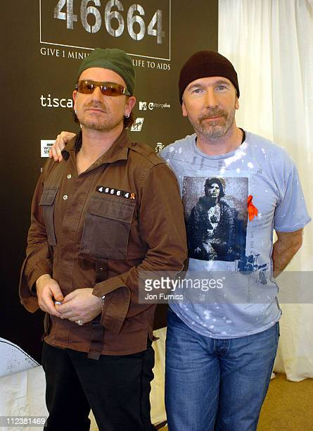Bono and The Edge of U2 during 46664 Give 1 Minute Of Your Life To AIDS Concert Press Room at Greenpoint Stadium in Cape Town Western Cape South...