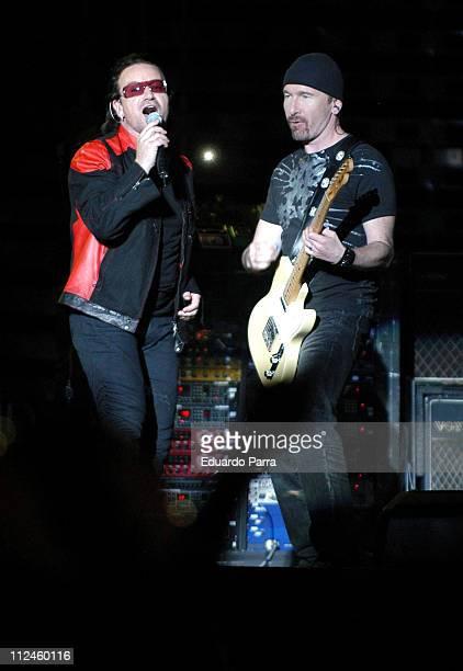 """Bono and The Edge of U2 during U2 """"Vertigo"""" Tour at Vicente Calderon Stadium in Madrid - August 11, 2005 at Vicente Calderon Stadium in Madrid, Spain."""