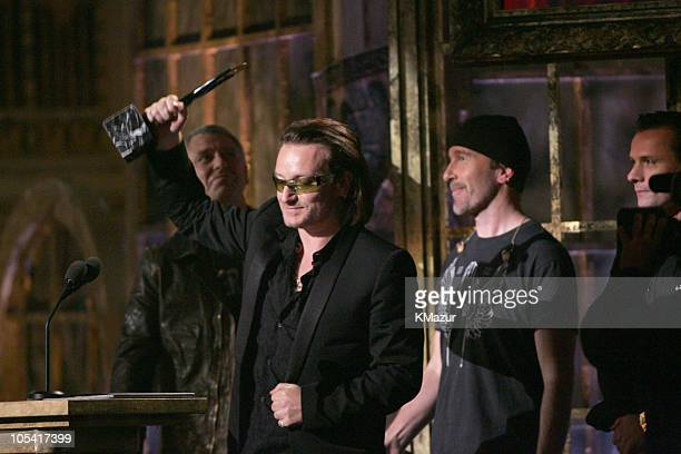 Bono and The Edge of U2 inductees during 20th Annual Rock and Roll Hall of Fame Induction Ceremony Show at Waldorf Astoria in New York City New York...