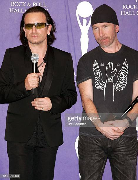Bono and The Edge of U2 inductees during 20th Annual Rock and Roll Hall of Fame Induction Ceremony Press Room at Waldorf Astoria Hotel in New York...