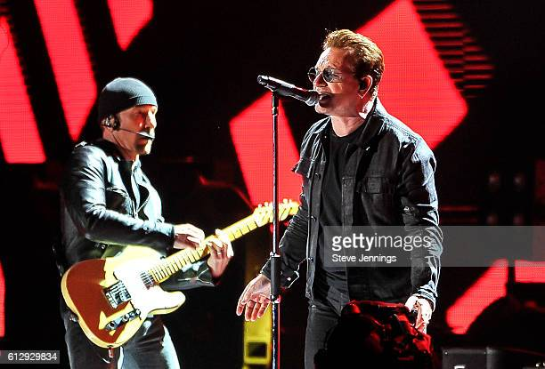 Bono and The Edge of U2 perform at the UCSF Benioff Children's Hospital Benefit concert at Cow Palace on October 5 2016 in San Francisco California