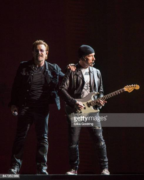 Bono and The Edge of U2 perform during The Joshua Tree Tour 2017 at MercedesBenz Superdome on September 14 2017 in New Orleans Louisiana