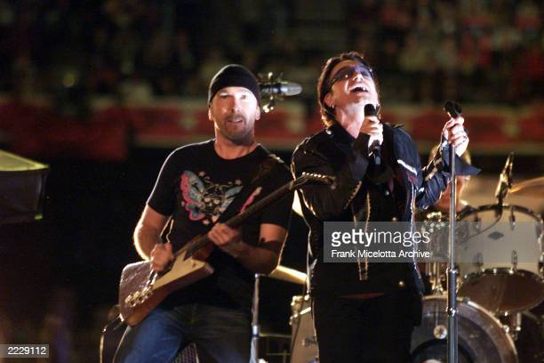 Bono and The Edge of U2 performing on the Super Bowl XXXVI Halftime Show at the Louisiana Superdome in New Orleans LA 2/3/02 Photo by Frank...
