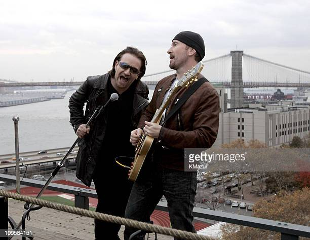 Bono and the Edge of U2 spend the day on the streets of New York City shooting a video for their new album 'How to Dismantle an Atomic Bomb' which...