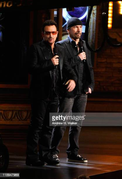 Bono and The Edge speak on stage during the 65th Annual Tony Awards at the Beacon Theatre on June 12 2011 in New York City
