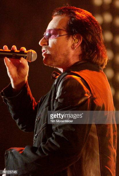 "Bono and U2 perform in support of the bands ""How to Dismantle an Atomic Bomb"" release at the Oakland Arena on November 8, 2005 in Oakland California."