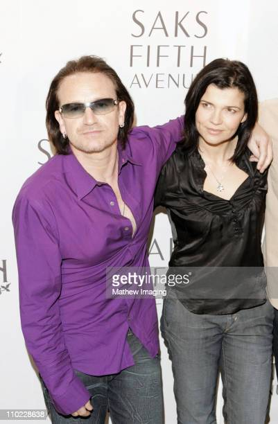 Bono and wife Ali Hewson during Bono Ali Hewson and Designer Rogan Gregory Launch New 'Conscious Commerce' Clothing Line at Saks Fifth Avenue Men's...