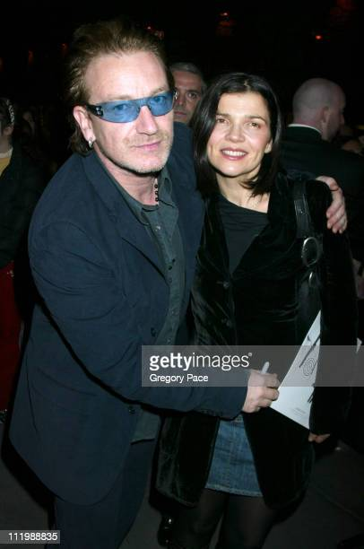 Bono and wife Ali Hewson during People Magazine Hosts Bono And Friends Charity Auction To Benefit The Irish Hospice Foundation at Christies in New...