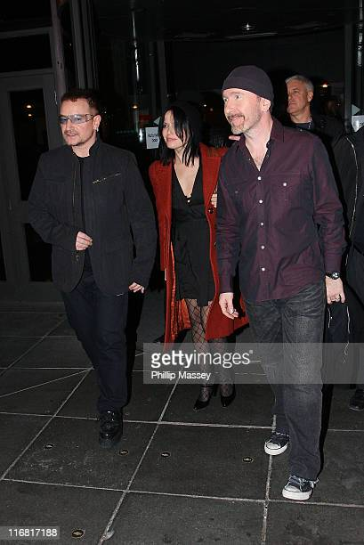 "Bono, Andrea Corr and The Edge leave the 'Late Late Show"" at RTE Studios on February 22, 2008 in Dublin, Ireland."