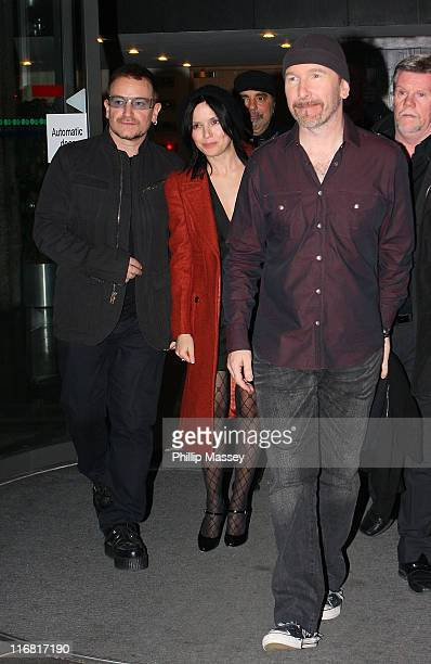Bono Andrea Corr and The Edge leave the 'Late Late Show' at RTE Studios on February 22 2008 in Dublin Ireland