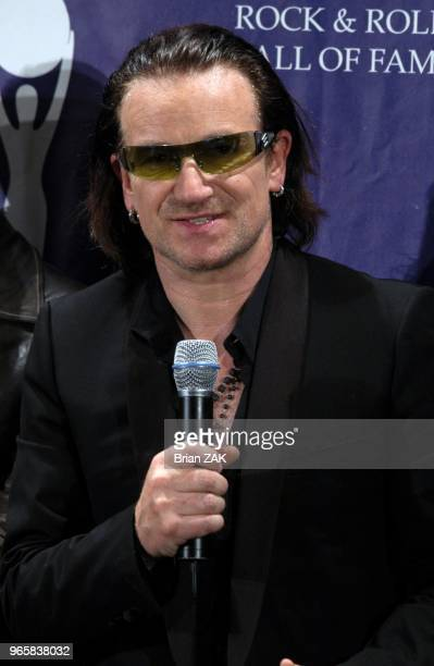 Bono at the 20th Annual Rock and Roll Hall of Fame Induction Ceremony Press Room held at the Waldorf Astoria Hotel New York City ZAK BRIAN