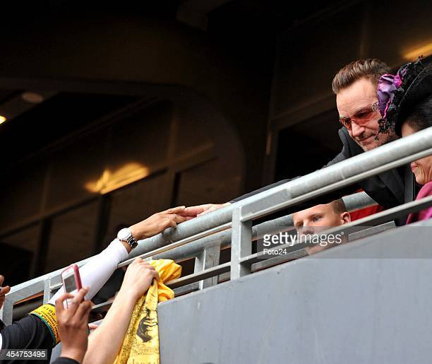 Bono attending Nelson Mandela's public Memorial Service at the FNB stadium on December 10 in Johannesburg South Africa The Father of the Nation...