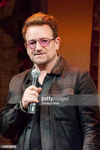 Bono attends Bono Visits 'Eclipsed' To Launch A Dedications Series In Honor Of Abducted Chibok Girls Of Northern Nigeria at Golden Theatre on April...
