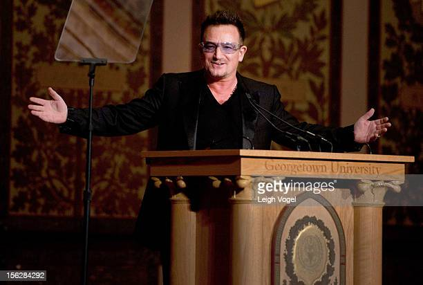 Bono attends the 2012 Global Social Enterprise Initiative Event at Georgetown University on November 12 2012 in Washington DC