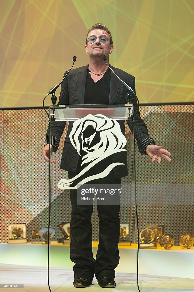 Bono attends the Cannes Lions Awards Ceremony at Palais des Festivals on June 21, 2014 in Cannes, France.