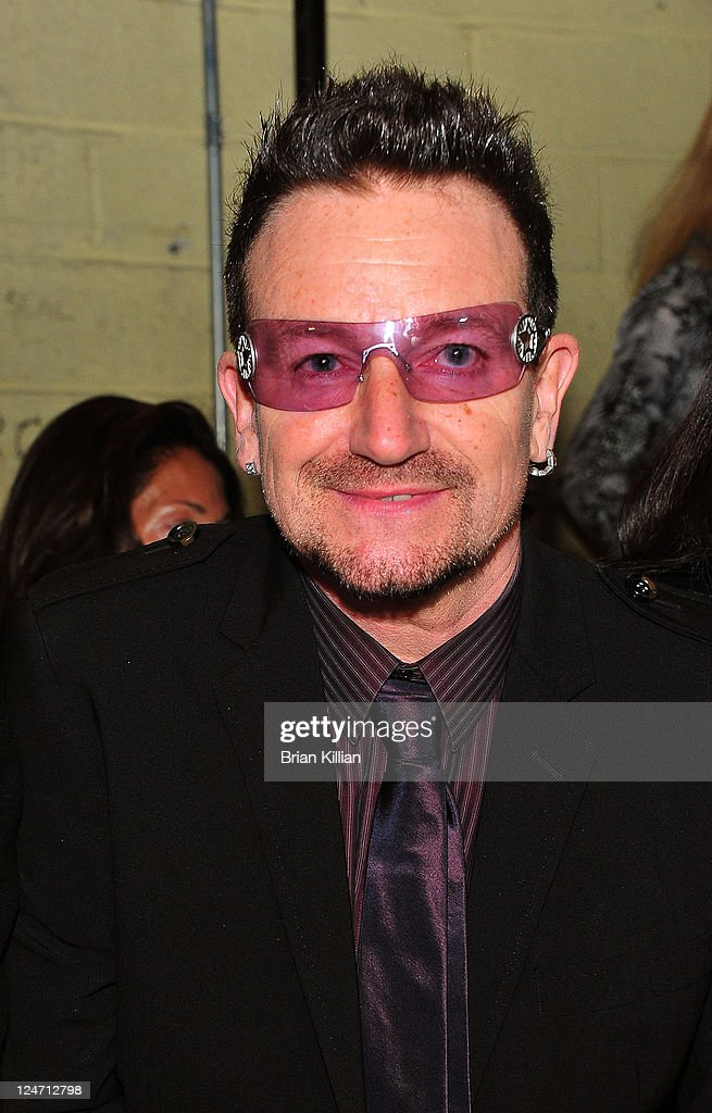 Bono attends the Edun Spring 2012 fashion show during Mercedes-Benz Fashion Week at 330 West Street on September 11, 2011 in New York City.