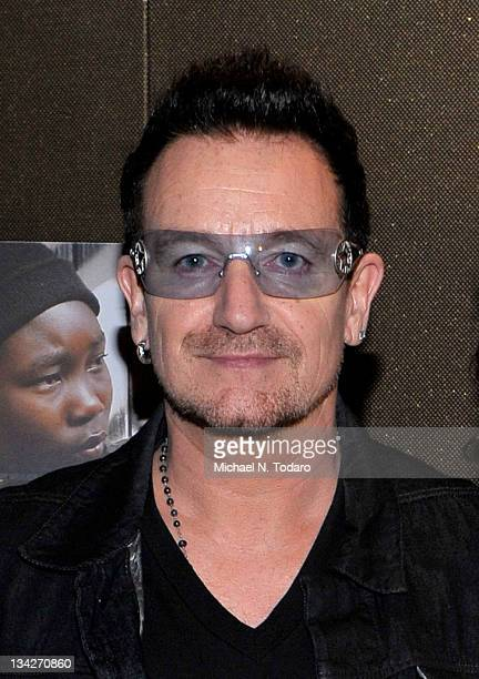 Bono attends the 'Keep A Child Alive with Alicia Keys' premiere at the Tribeca Grand Screening Room on November 29 2011 in New York City