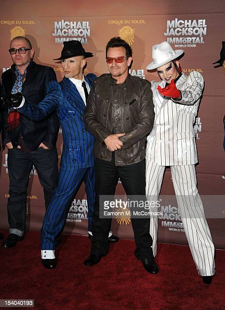 Bono attends the opening night of Cirque Du Soleil's 'Michael Jackson The Immortal World Tour' at 02 Arena on October 12 2012 in London England