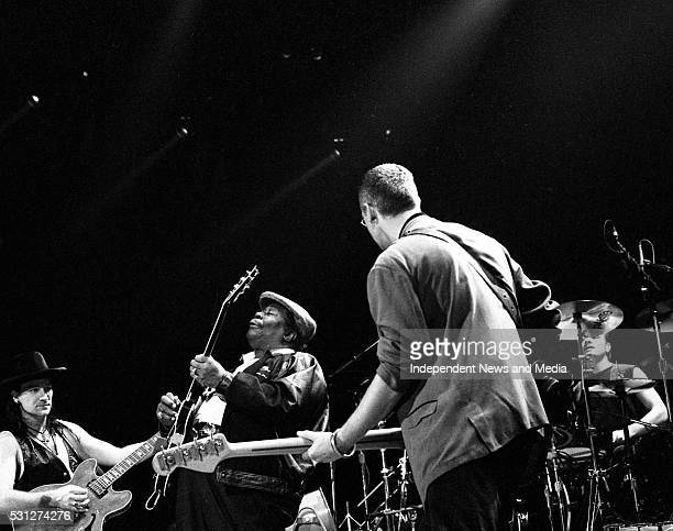 Bono, BB King, Adam Clayton and Larry Mullen Jr on stage at The Point, 26/12/89 for U2's 'Lovetown Tour' of 1989. B.B. King, the legendary blues...