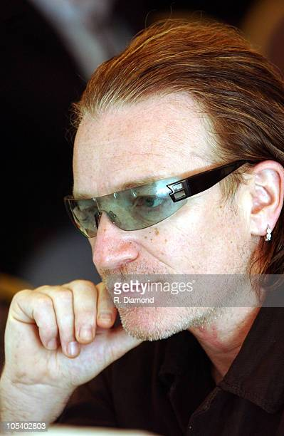 Bono during Bono and DATA Announce THE ONE CAMPAIGN at Independence Hall in Philadelphia PA United States