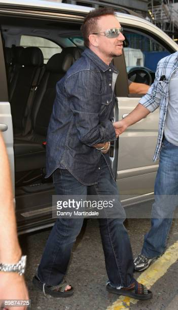 Bono from U2 arrives the Radio Two Studio on August 19 2009 in London England