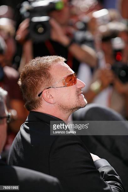 Bono Irish Lead Singer of Band U2 attends the funeral of Italian Tenor Luciano Pavarotti held in the Duomo di Modena on September 8 2007 in Modena...