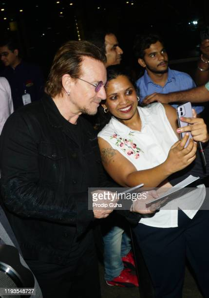 Bono Irish rock band U2 arrived Mumbai internation airport for the Joshua Tree Tour on December 12 2019 in Mumbai India U2 band will perform at DY...