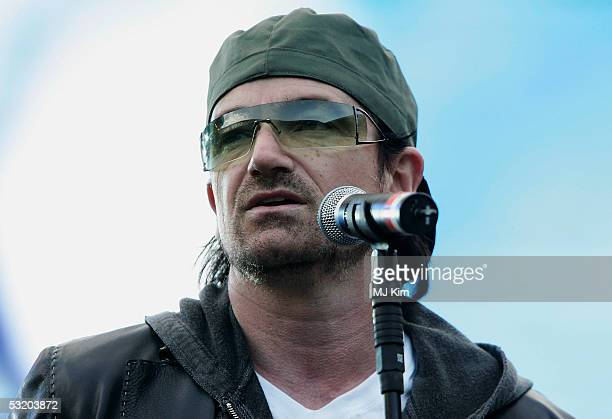Bono is seen on stage with the Live 8 List at Live 8 Edinburgh concert at Murrayfield Stadium on July 6, 2005 in Edinburgh, Scotland. The free gig,...