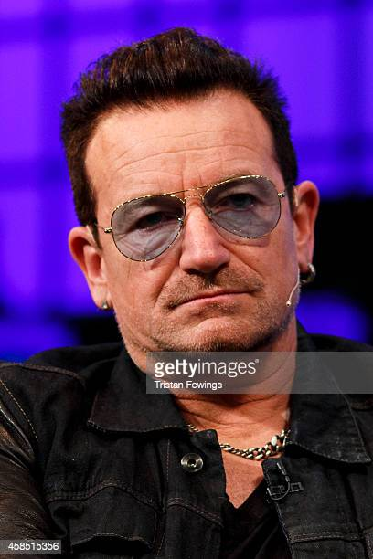 Bono joins Bill McGlashan Eric Wahlfors Dana Brunetti and David Carr for a panel discussion on the Web Summit Centre Stage at the 2014 Web Summit on...