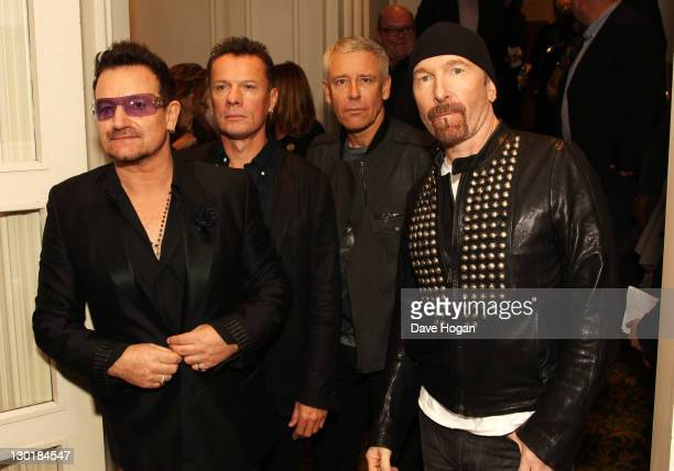 Bono Larry Mullen Jr Adam Clayton and The Edge of U2 attend The 2011 Q Awards at The Grosvenor House Hotel on October 24 2011 in London United Kingdom