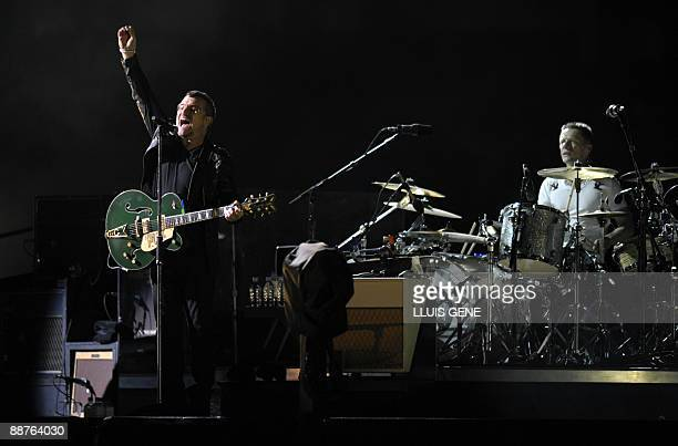 """Bono , lead singer of the Irish rock band U2, performs during the first concert of the U2 """"360 degrees"""" world tour, linked to its new album """"No Line..."""