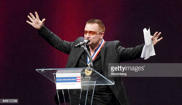 Bono lead singer of the rock group U2 addresses the crowd following his receiving the 2007 Liberty Medal during a ceremony at National Constitution...