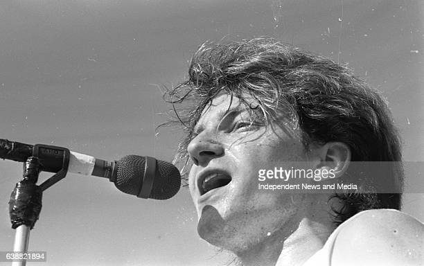 Bono lead singer of U2 in action at the Hot Press Music Festival at Punchestown Racecourse Kildare