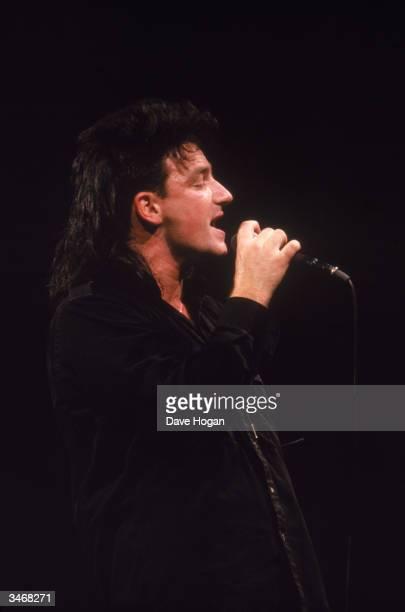 Bono lead singer of U2 in concert 1986