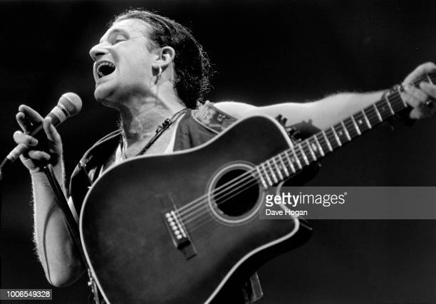 Bono lead singer of U2 in concert at Wembley Arena 2nd June 1987