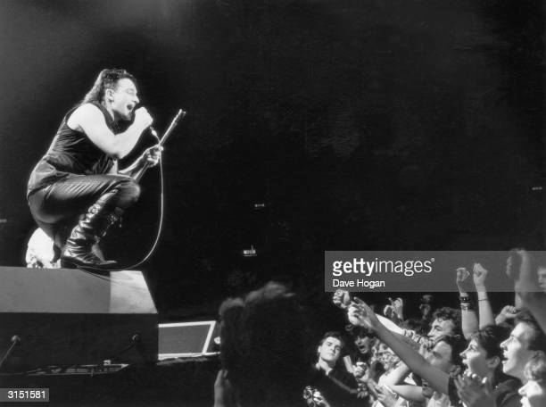 Bono lead singer of U2 in concert in London 28th November 1984