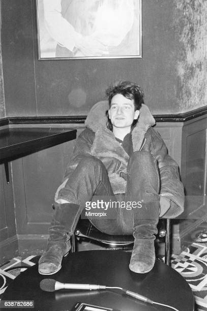 Bono lead singer with Irish rock band U2 from Dublin pictured during informal press conference ahead of concert at Tiffany's dance hall Sauchiehall...