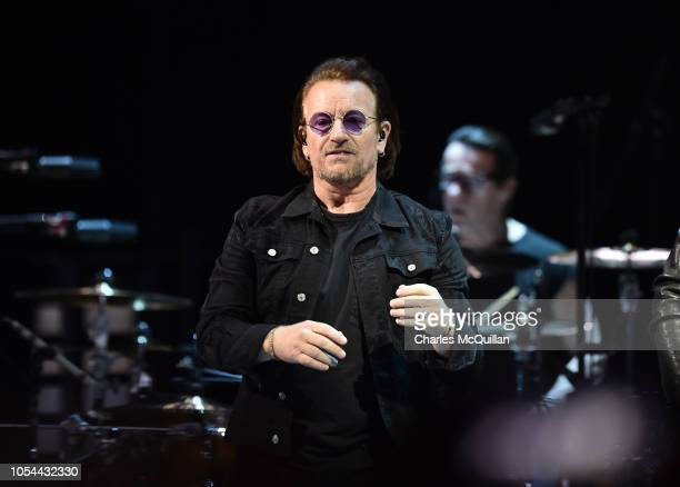 Bono, lead singer with U2 performs during the Experience and Innocence tour at SSE Arena Belfast on October 27, 2018 in Belfast, Northern Ireland.