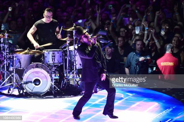 Bono lead singer with U2 performs during the Experience and Innocence tour at SSE Arena Belfast on October 27 2018 in Belfast Northern Ireland