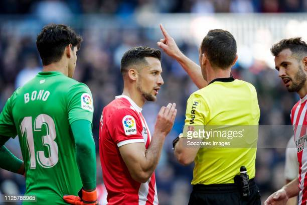 Bono of Girona Alex Granell of Girona referee Guillermo Cuadra Fernandez Cristhian Stuani of Girona during the La Liga Santander match between Real...